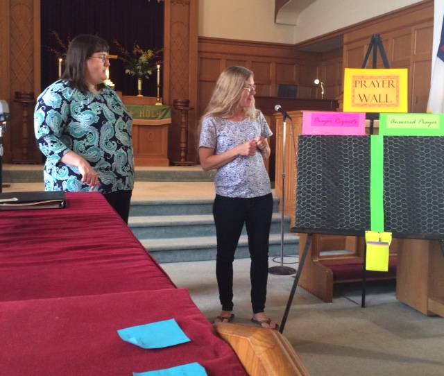 Pastor Joni and Kay with prayer wall